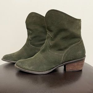 Naughty Monkey Green Suede Leather Booties